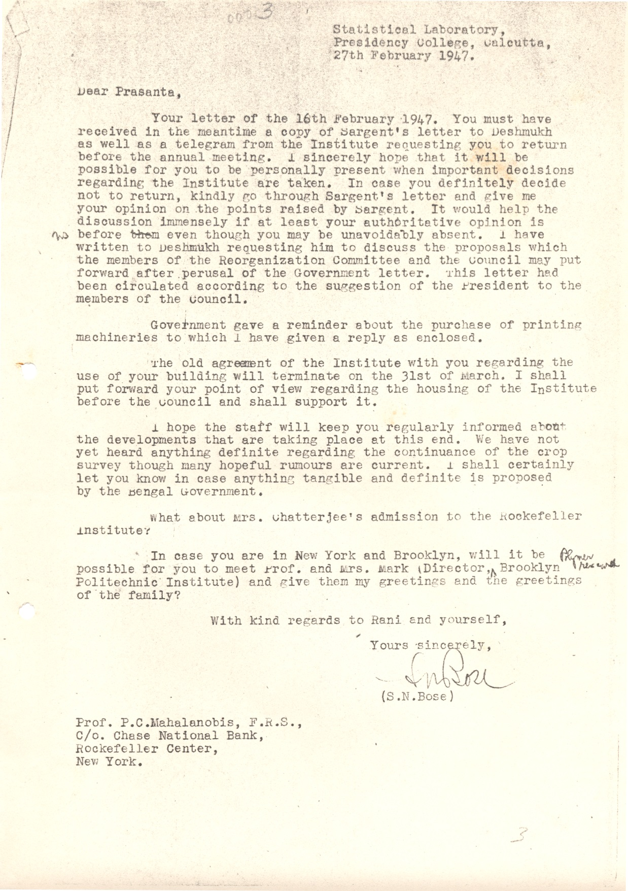 Prof S N Bose Archive